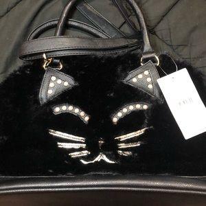 NWT Purr-Fect Betsey Johnson Kitsch Satchel Cat Face Purse Shoulder Bag